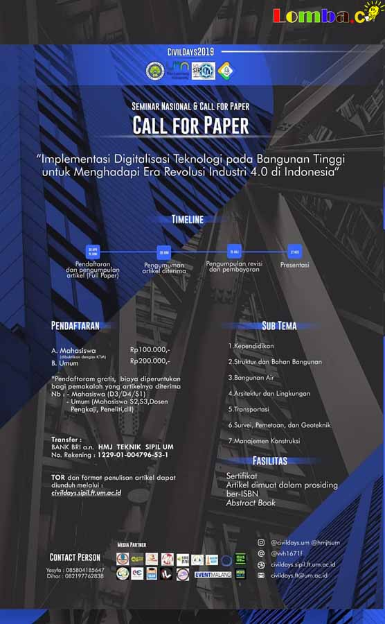 Lomba Call For Paper Nasional CivilDays 2019 Untuk Mahasiswa & Umum
