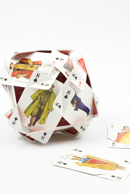 how to make cool card sculptures from playing cards- such a fun STEAM activity to try out with kids!
