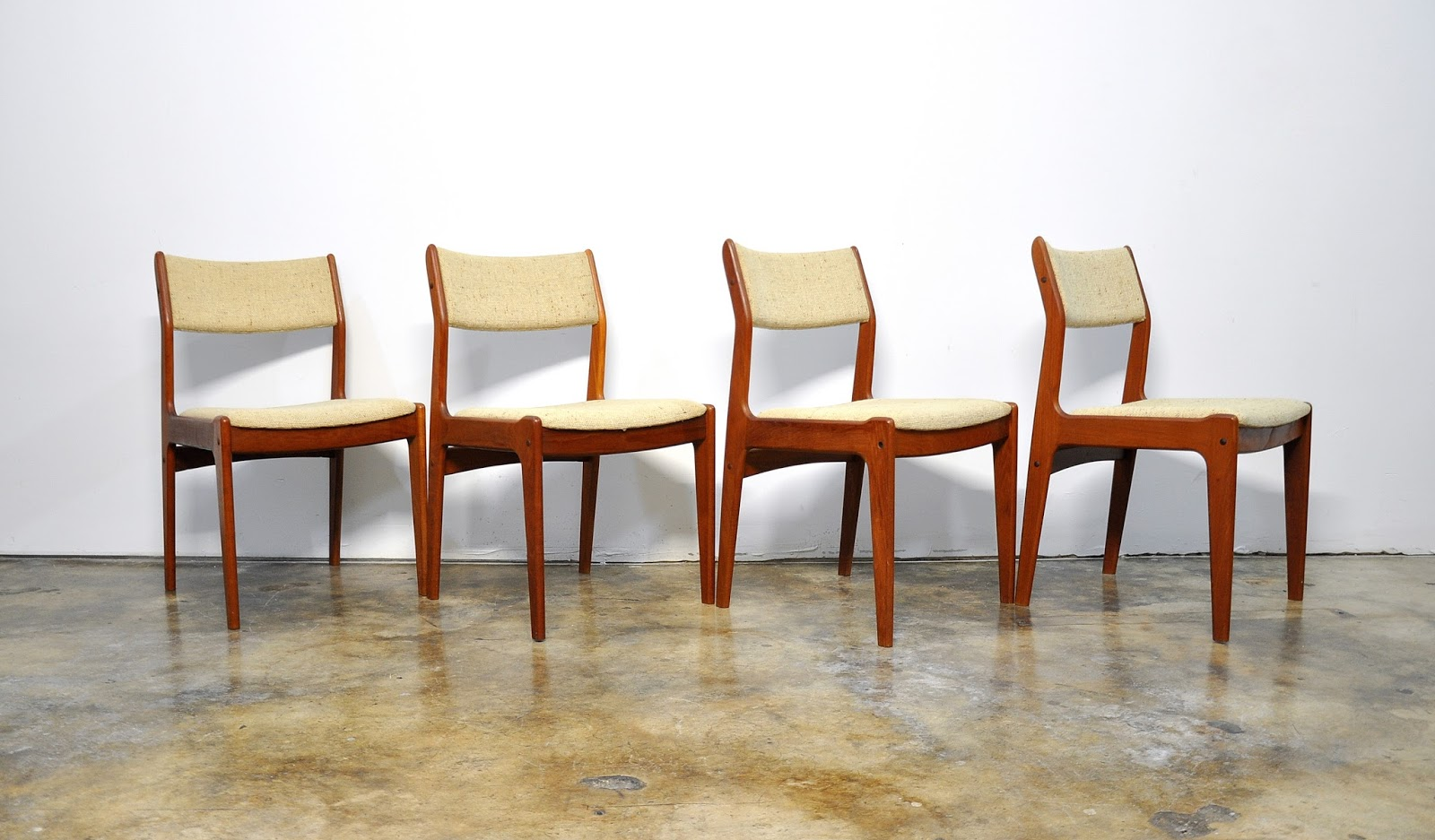 Danish Dining Chair Contour Lounge Select Modern Set Of 4 Teak Chairs