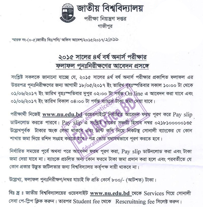 NU Honours 4th Year Result Re Scrutiny Application 2017 by www.edunoticebd.com