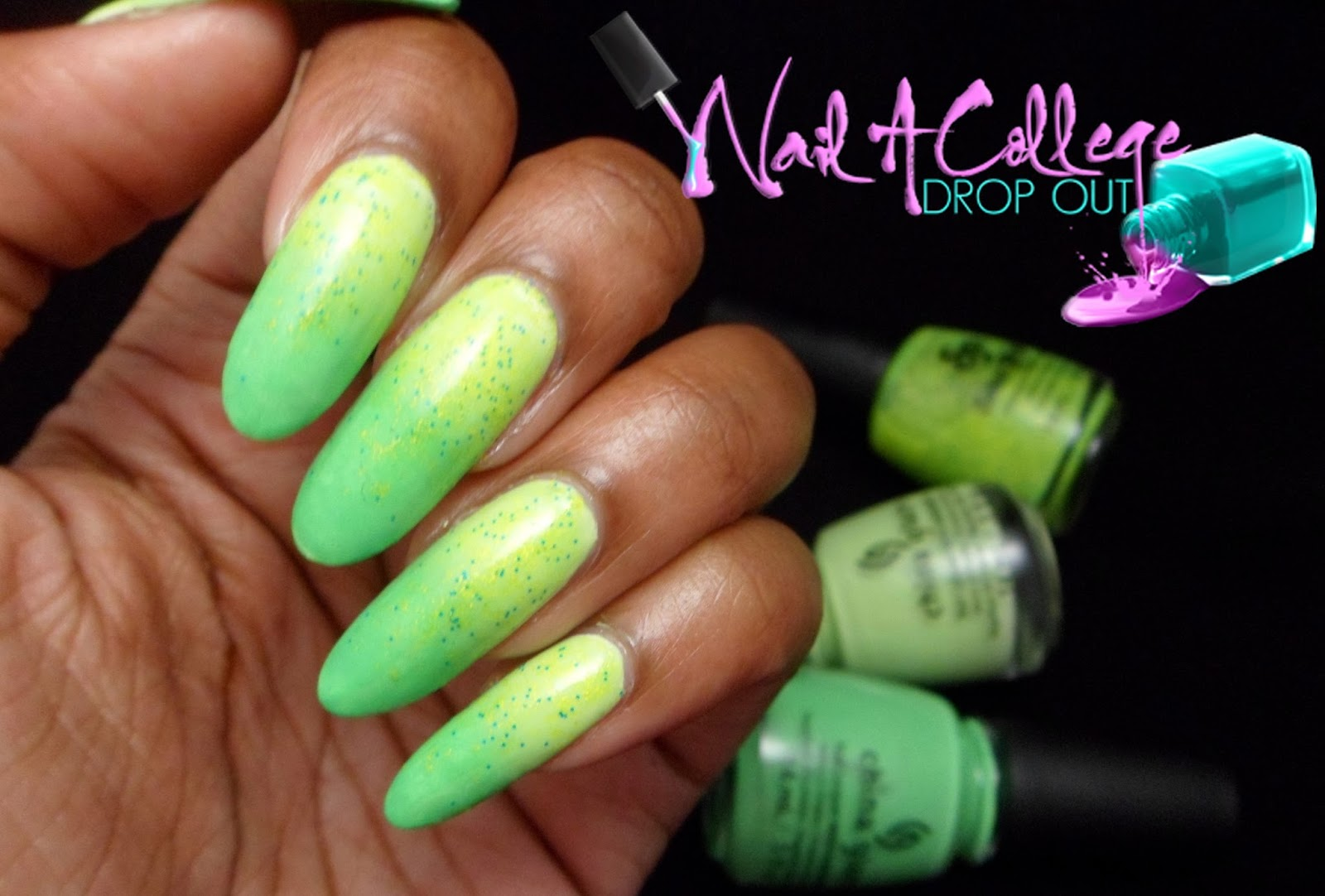 Nail A College Drop Out: China Glaze & Salon Perfect Green Gradient ...