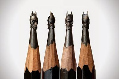 Micro Escultura de Batman en la punta de un lápiz