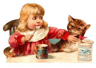 victorian girl cat illustration digital image download