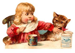 victorian girl cat illustration digital image download