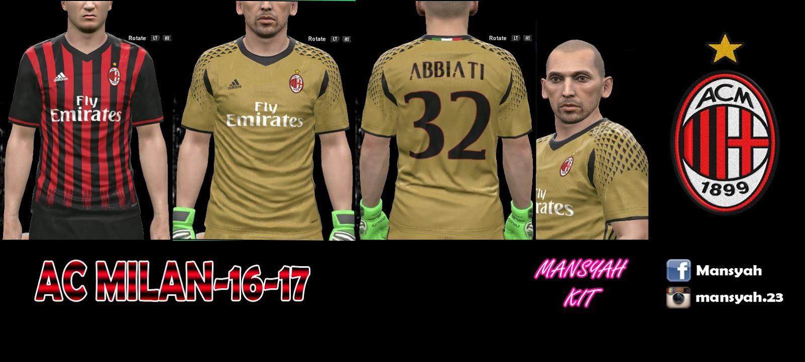PES-MODIF: PES 2016 AC Milan 16-17 Kits By Mansyah