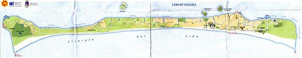 Mapa da ilha Lido di Venezia