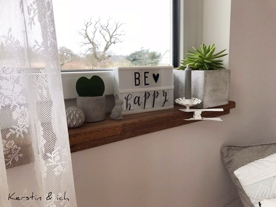 Fensterbankdeko Beton Sukkullente Wohnen Deko Holzfensterbank