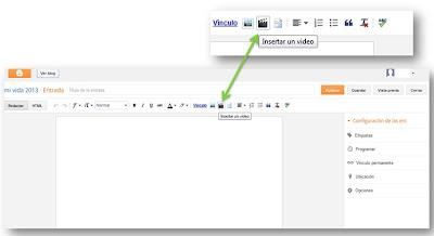 Resultado de imagen de como introducir videos en blogger