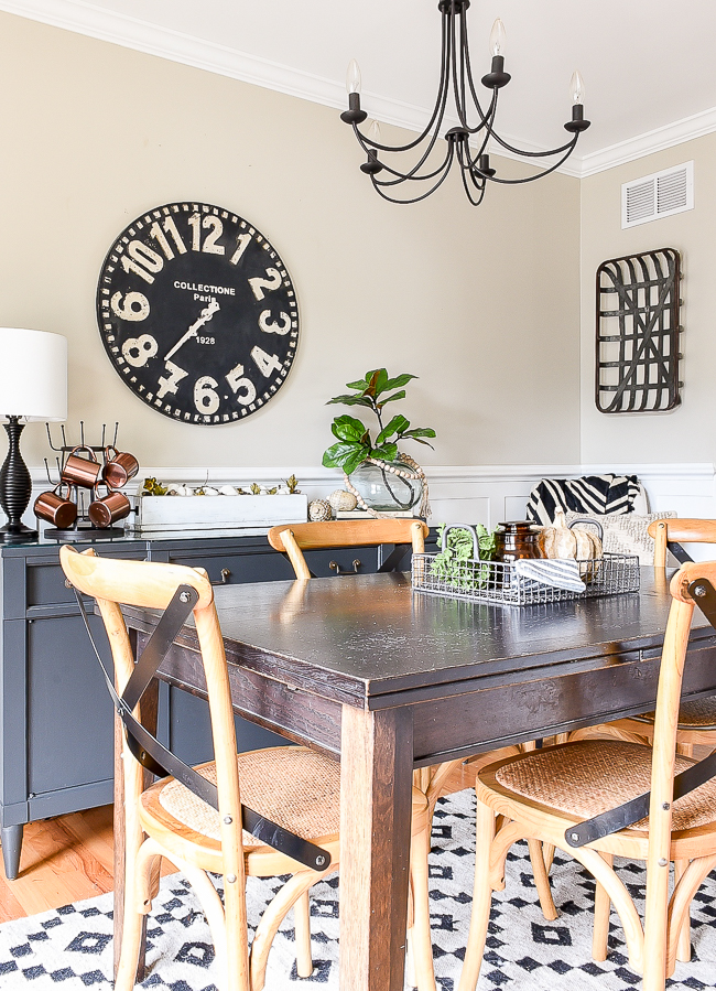 subtle and neutral fall decorated dining room