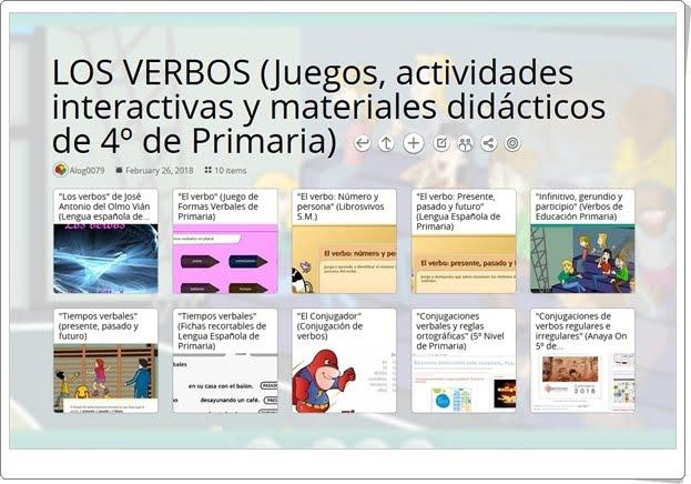 """""""10 Juegos, actividades interactivas y materiales didácticos para el aprendizaje de LOS VERBOS en 4º de Primaria"""""""