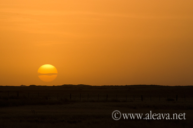 El sol se guarda en el horizonte entre cenizas