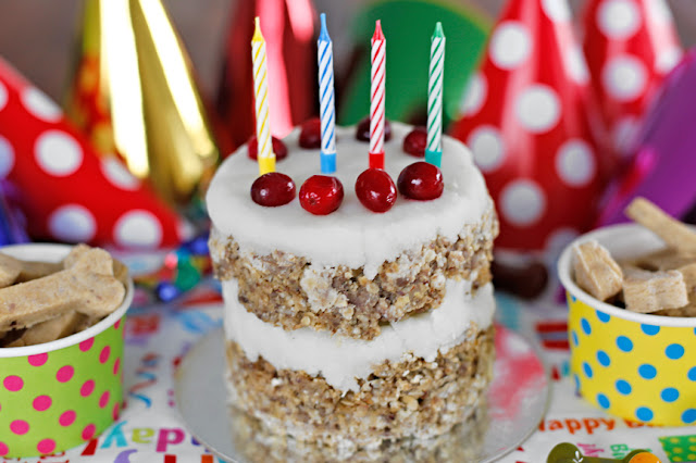 Meatloaf dog birthday cake with potato frosting, cranberry decorations, and candles