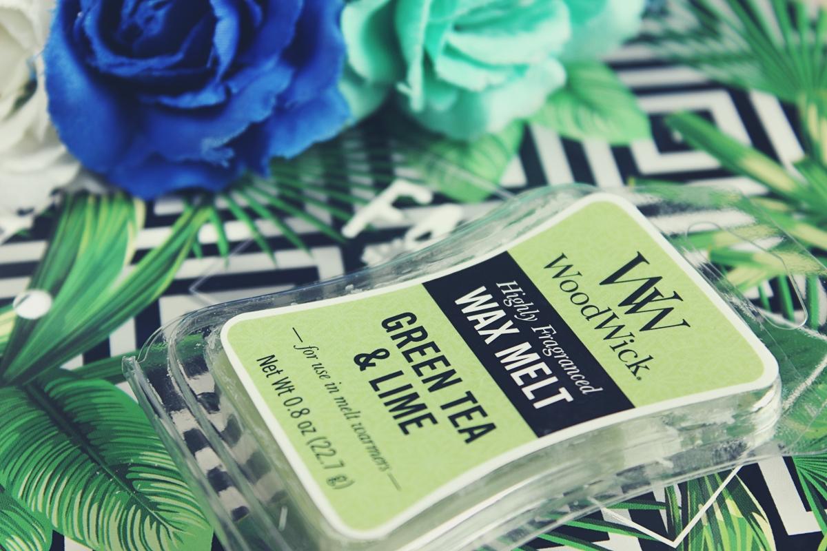 woodwick green tea&lime wosk