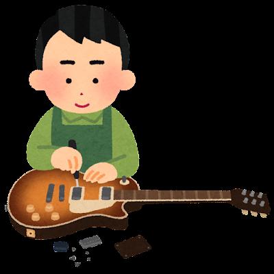 ギターの修理をしている人のイラスト