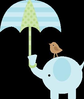 Elefante para baby shower con pajarito y paraguas