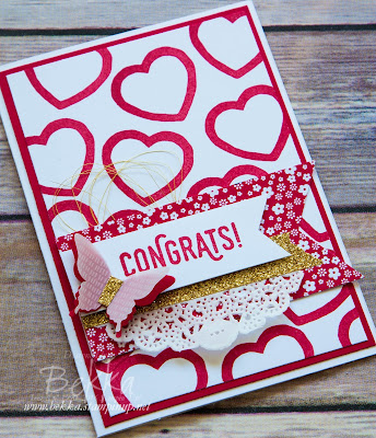 Congratulations Card with Hearts Background - Ideal for Weddings, Anniversaries and Birthdays.  Made with supplies from Stampin' Up! UK which are available here
