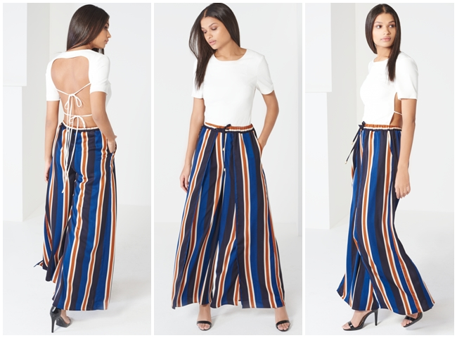 Lavish Alice 2016 Summer Navy & Terracotta Stripe Print Split Side Wide Leg Trouser