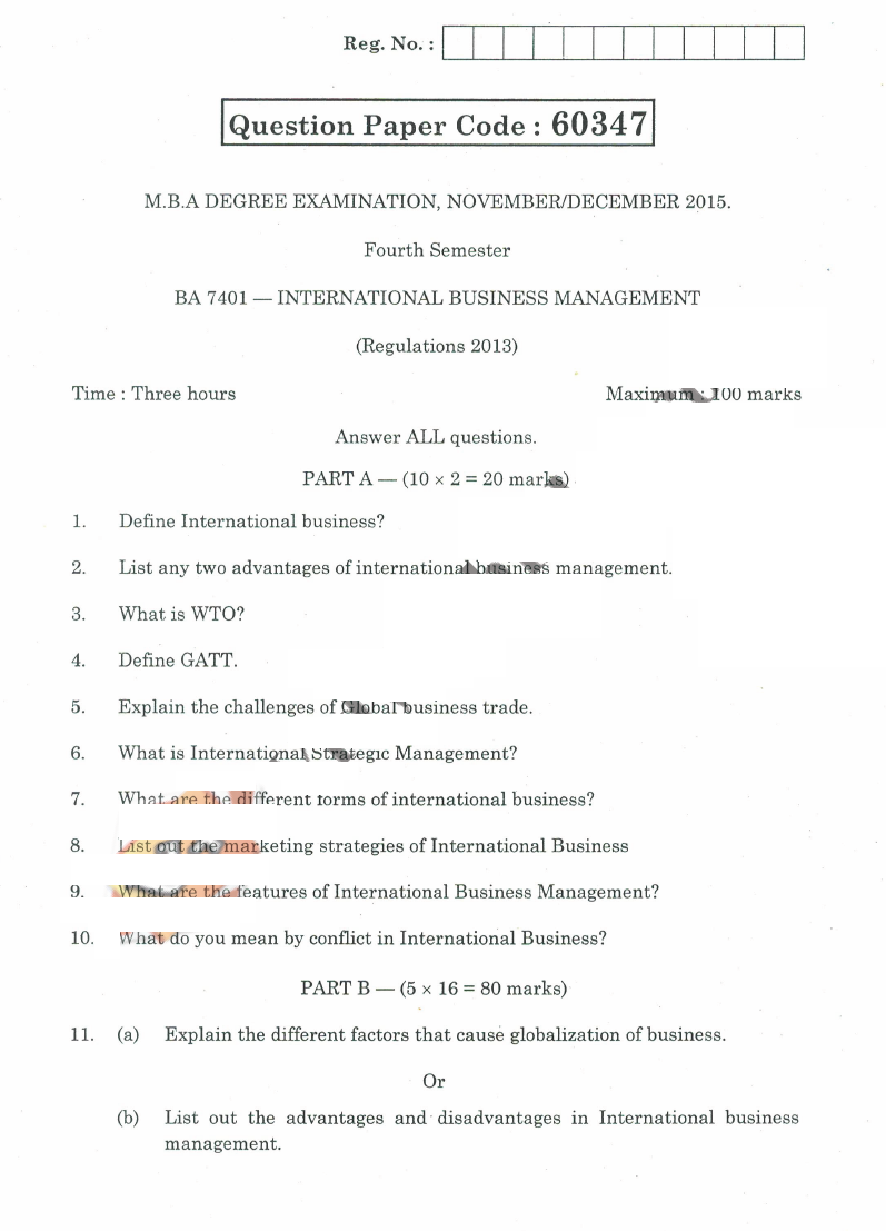 university question papers ba international business saturday 2 2016