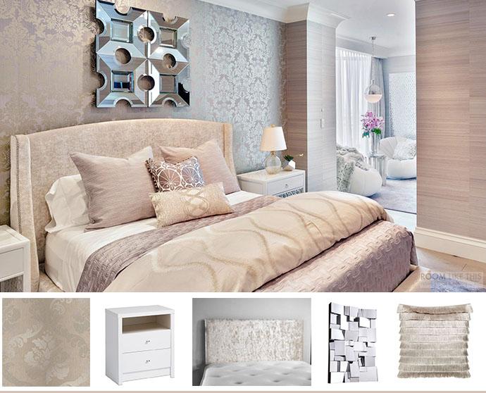 Champagne Glamorous Bedroom Velvet Headboard Damask Wallpaper Shop The Room