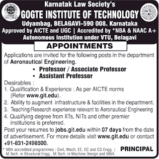 KLS Gogte Institute of Technology, Belagavi, Notification 2019 Professor/Associate Professor/Assistant Professor Jobs