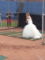 Bride Batting baseball
