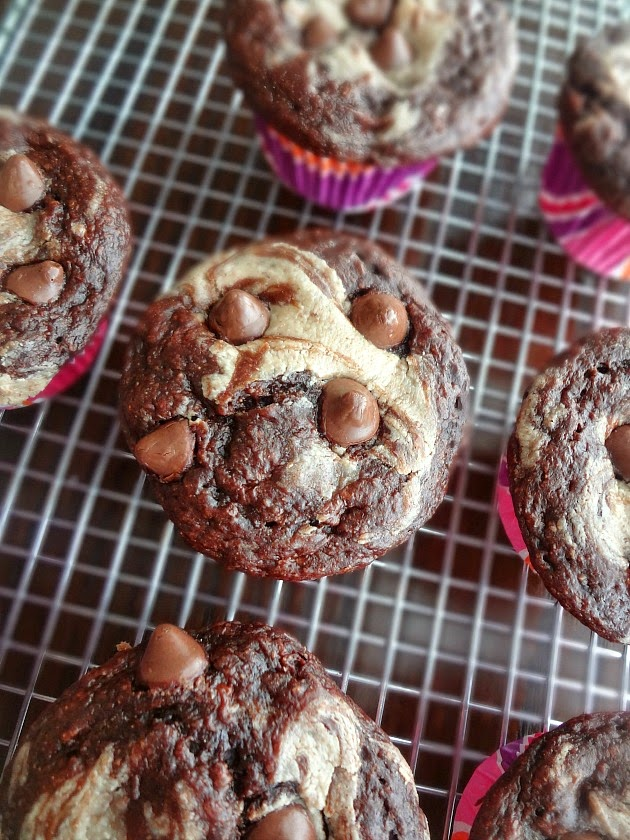 "{Healthier} Chocolate Peanut Butter Swirl ""Cupcakes"""