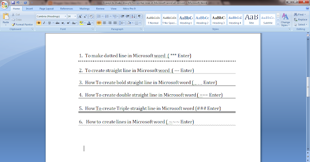 how to draw a horizontal line in word 2016