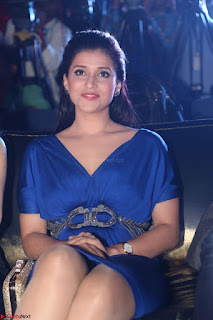 Mannara Chopra in Short Blue Dress at Rogue Movie Teaser Launch 1st March 2017 017.JPG