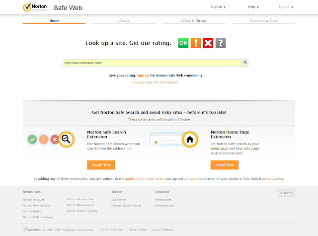 Poster Page Memasang Meta Tag Norton SafeWEB Site Verification 2017