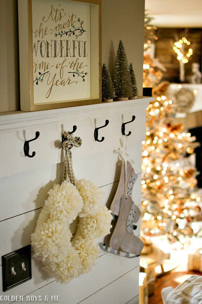 DIY planked wall with neutral  Christmas decor - Golden Boys and Me Holiday Home Tour