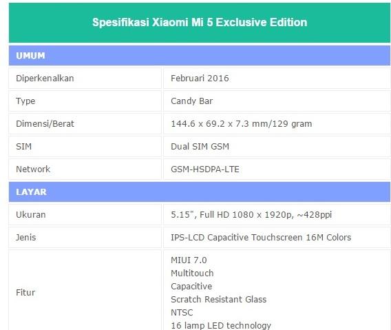 Info Harga HP Xiaomi Mi 5 Exclusife Edition berikut Spesifikasi Lengkap 2016