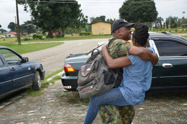 Adorable Moment A Nigerian Soldier Who Has Been Fighting Boko Haram, Reunites With His Family In Port Harcourt