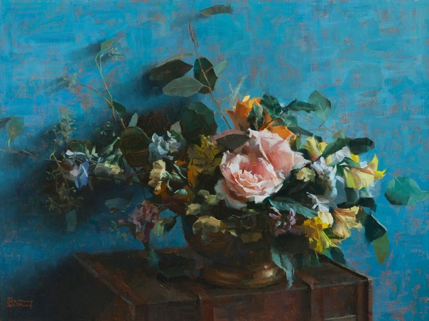 "by Brittany Weistling, ""Arrangement in Blue"" - oil on linen 