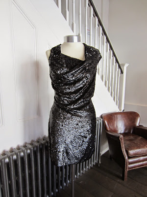 All Saints Black Sequinned Dress