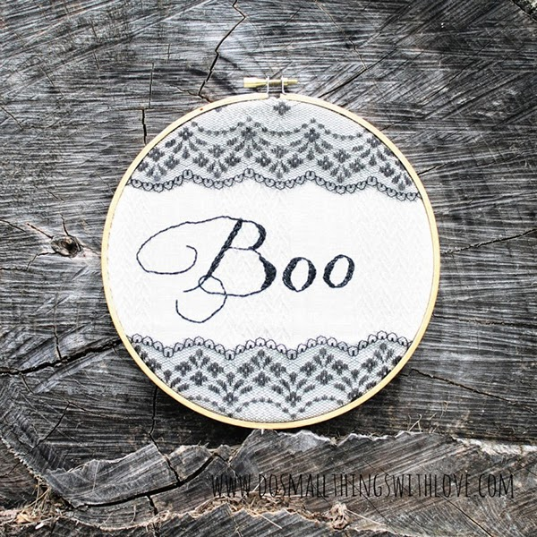 Boo! Embroidered Black stitched and lace embroidery hoop wall art tutorial