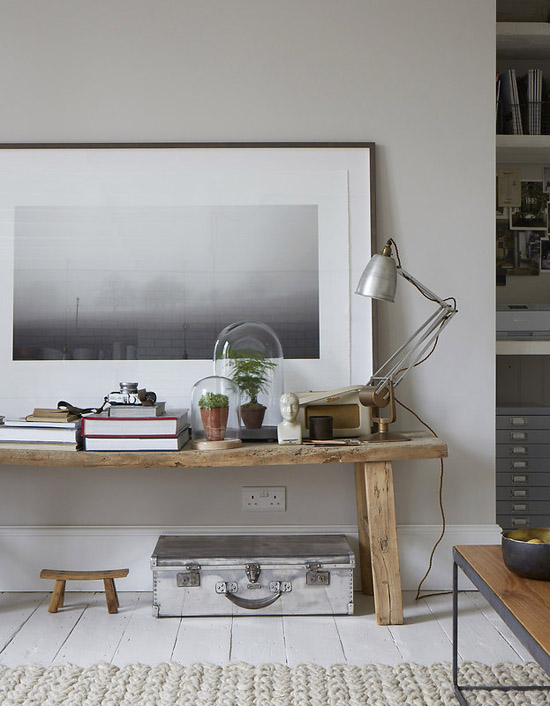 A contemporary vignette corner with rustic influences. Image by Paul Massey.