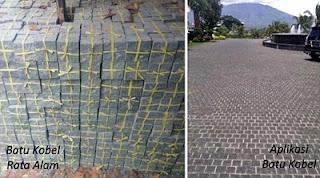 Gambar Batu Kobel / cobble Rata Alam untuk Templek Dinding