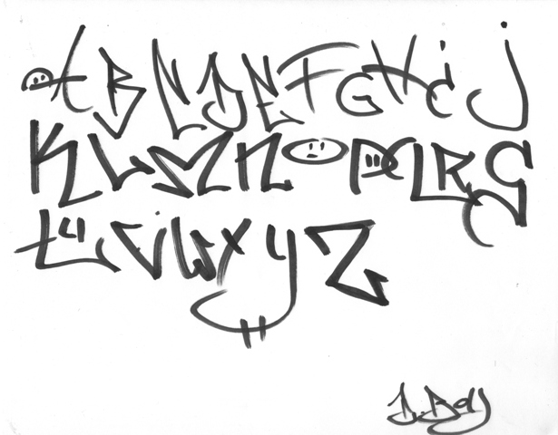 style bubble writing alphabet