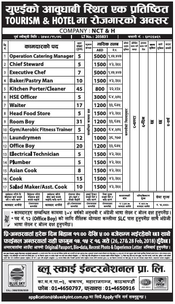 Jobs in Abu Dhabi, UAE for Nepali, Salary Rs 1,40,740