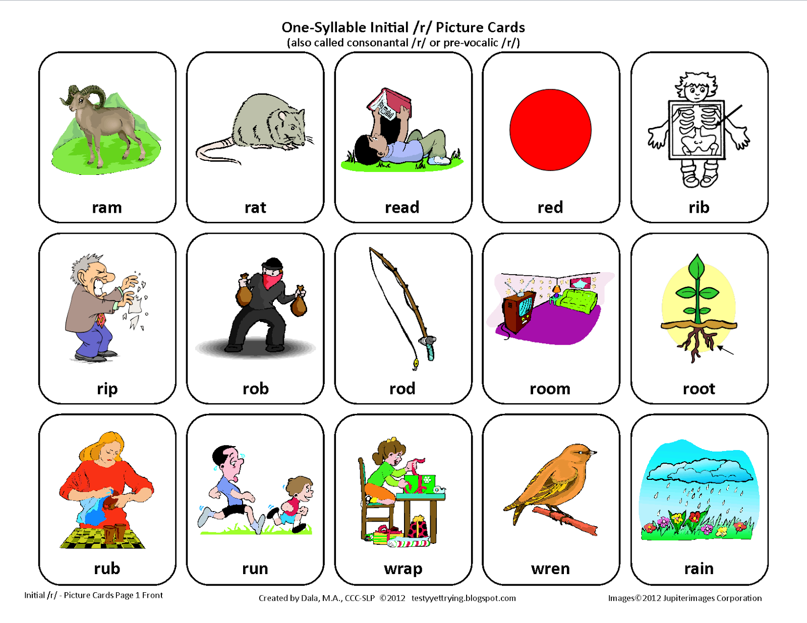 Testy Yet Trying Initial R Free Speech Therapy Articulation Picture Cards