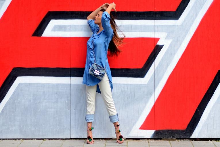 Tamara Chloé, Denim On Denim, Diesel Jeans, Michael Kors Denim Sloan Bag, Zara pom pom heels, TC Style Clues, Denim Shirt dress