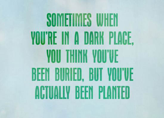 Sometimes when you're in a dark place you think you've been buried but you've actually been planted