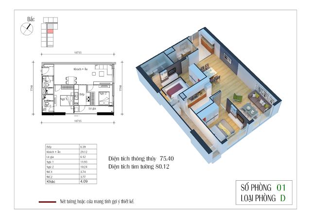 Thiết kế căn hộ 01: 75,40m2, 2 phòng ngủ, 2WC Eco Dream City