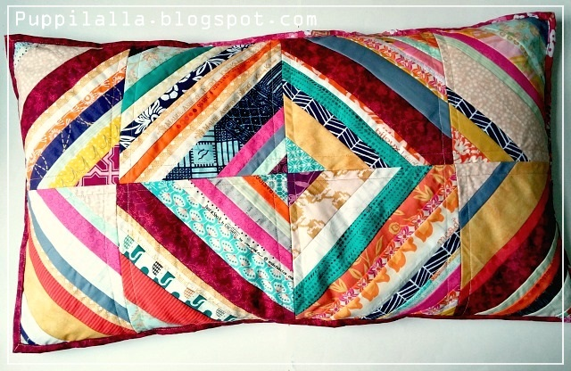 Puppilalla, scrap buster, patchwork,scrappy string pillowcase, diamond string