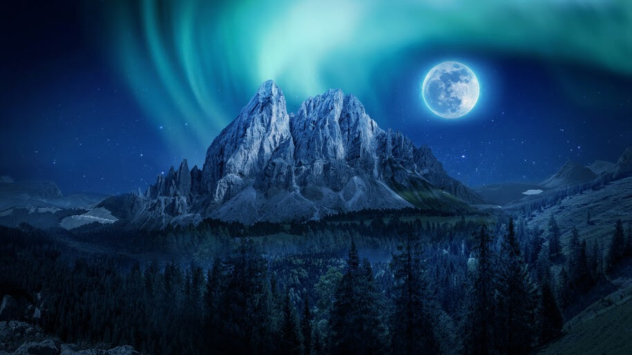 Mountain, Forest, Full Moon, Night, Sky, Scenery, 4K, #6.933