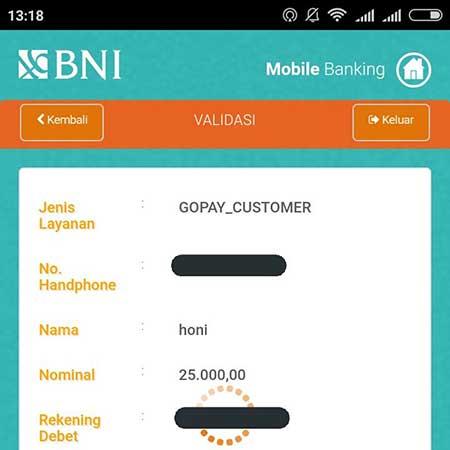 Isi Saldo GoPay Melalui BNI m-Banking Selalu Loading