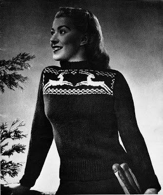 The Vintage Pattern Files: 1940s Free Knitting Pattern - Antelope Sweater