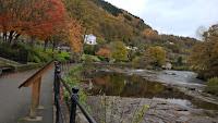 Colours of autumn on the mountainside along the river Dee in Llangollen