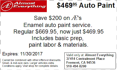 Coupon $469.95 Auto Paint Sale November 2017