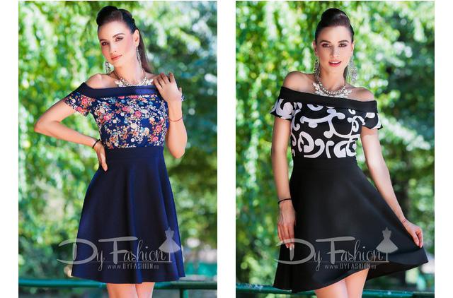 Rochie de zi scurta eleganta si ieftina neagra / bleumarin cu imprimeu